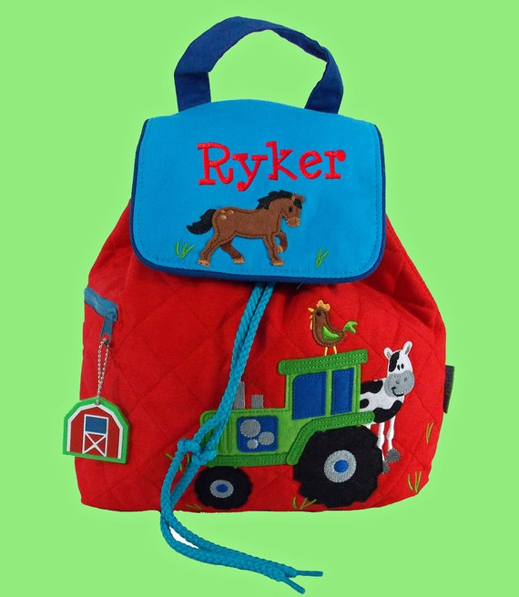 Personalized Stephen Joseph Toddler FARM Backpack In Blue and Red