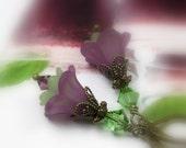 Flower Dangle Earrings, Purple Flower Earrings, Purple and Green Earrings, Romantic Floral Jewelry, Woodland Bohemian Beach Earrings