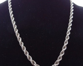 """20% off sale Vintage WHITING AND DAVIS signed 24"""" silver tone rope style necklace in great condition"""