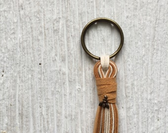 Fringe tassel keychain, Vegan tassel, yellow and white