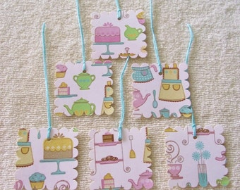 Kitchen Love- Baked Goods- Gift Tags -  2 In.  Scalloped Square-Prestrung