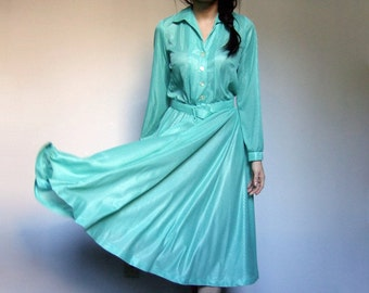 Mint Dress Vintage Long Sleeve Womens Collared Pastel Green Summer Midi Semi Sheer Sundress - Large L