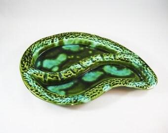 Mid Century Green Ashtray, USA pottery Designed by Nonamax