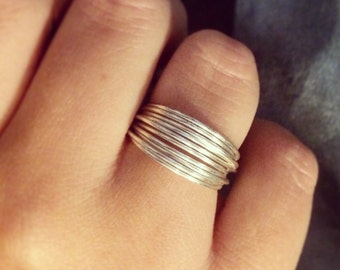 Silver Plated Wire Wrapped Multi Strand Ring