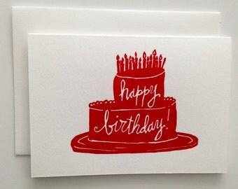 Letterpress Greeting Card - Happy Birthday