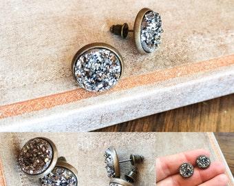 Dark Silver Druzy Earrings, Round Stud Druzy Earrings