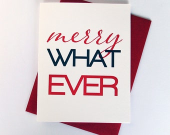 Letterpress Holiday Card - Merry Whatever