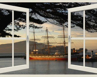 Wall mural window, self adhesive, open window view-3 sizes available-San Francisco Bay with old sailboat - free US shipping
