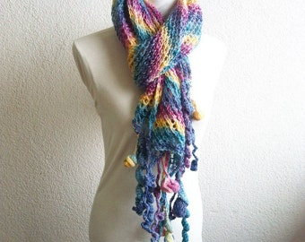 Women colorful Scarf, Rectiangle Shawl, Neckwarmer, Scarf, Knitted Shawl, Shawl,  in Rainbow, Colourful Scarve, Handmade