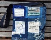 """Mixed Denim Fabric Patchwork Bag """"Seek God"""" ,Sling Bag, Handmade Tote, Eco-Friendly bag,Shoulder Bag, Eagle Bag,Crossbody,Quilted Bag"""