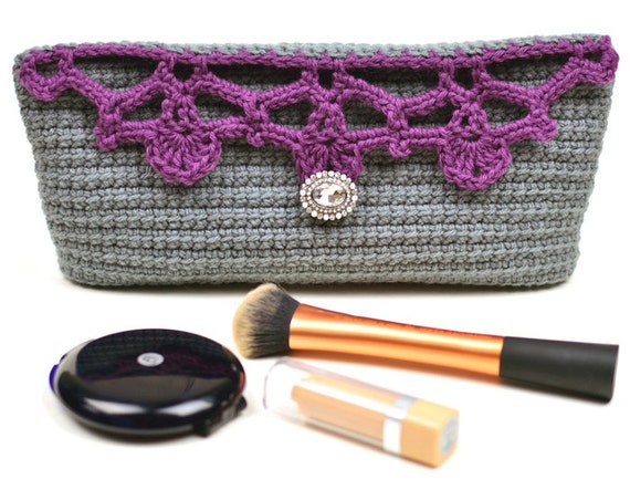 Crochet Cosmetic Bag Pattern : Lacy Top Cosmetic Bag PDF Crochet Pattern by CrochetSpotPatterns