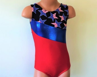 Gymnastic Dance Leotard with Patriotic Star Print Inserts. Dance-wear. Toddlers Girls Gymnastics Leotard. SIZES 2T - Girls 12