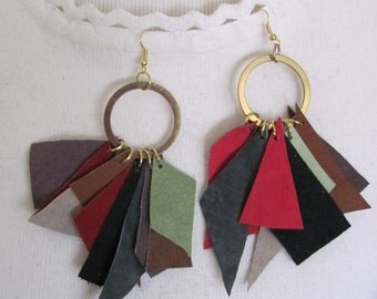 Beautiful Unique Suede Leather Gold Earrings (C01)
