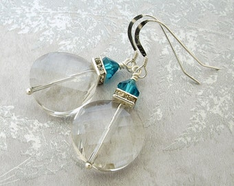 Clear crystal earrings, dangle earrings, sterling silver earrings, crystal earrings
