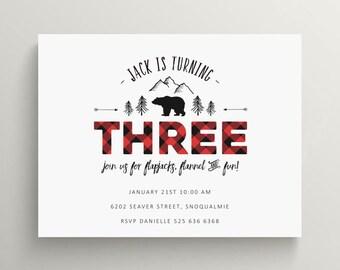 woodland plaid birthday invitation set // thank you note // baby shower // bear // buffalo plaid // logger // flannel // rustic