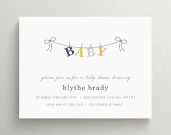 clothesline baby shower invitation set // baby announcement // clothes pins // banner // gender neutral // simple // classic // bow