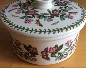 Vintage Portmeiron covered casserole - flowers butterflies,  oven to table