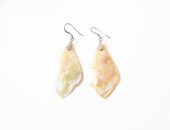Abalone shell earrings: Elegant long abalone shell or mother of pearl sterling silver earwires shoulder duster earrings, shell earrings