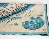 2 Vera Neumann Napkins, Rustic Linen, 4 Ladybugs Logo, Fruit Baskets, Turquoise, Sand