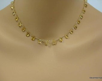 Citrine Briolette Necklace in Gold