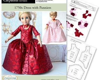 "1750's Dress with Panniers PDF Pattern multi sized for 18"" Slim Dolls and for Larger American Girl"