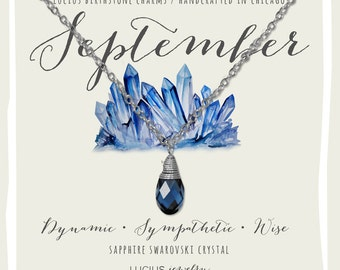 September Birthstone - September Birthstone Necklace - September Jewelry - Birthstone Necklace - Birthstone Jewelry - Swarovski Necklace