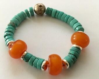 Turquise & amber yoga bracelet with antique metal bead, mala bracelet southwestern style, adjustable by paulbead