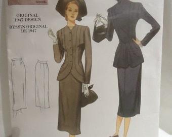 Retro 1940s Vogue Suit Pattern Uncut size 14 through 22