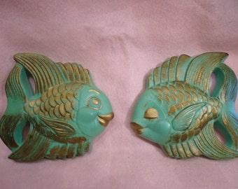 Vintage Chalkware Kissing Fish Green and Metallic Gold