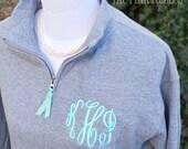 Monogrammed Sweatshirt | Quarter Zip Pullover | Monogrammed 1/4-zip sweatshirt | Preppy Sweatshirt | Initial Sweatshirt