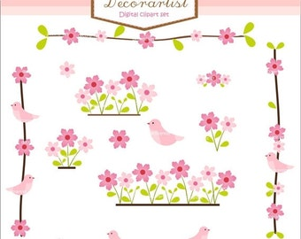 ON SALE Digital clipart. for all use, birds n flowers pink border and clipart , Sale clipart, INSTANT Download