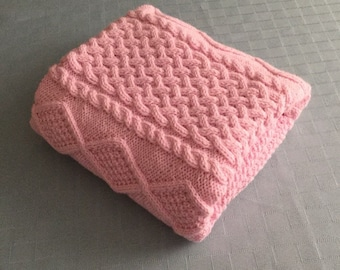 PRICE REDUCED, Chunky hand knit baby blanket, Pastel Pink, 27x37