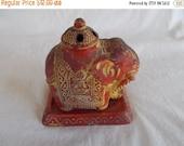 Vintage Ceramic Elephant Incense Burner And Tray