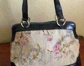 Vintage french leather & tapestry purse