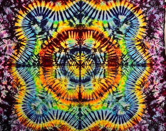 77x58 Large Tie Dye Tapestry by Emeraldsprings wallhanging handmade Rainbow yellow orange green
