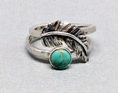 Western Turquoise Ring Set, Feather Stacking Ring, Real Turquoise, Sterling Silver Feather jewelry, Cowgirl Fashion