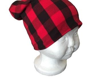 Buffalo plaid slouchy beanie - plaid beanie - kids beanie - kids hat - hipster
