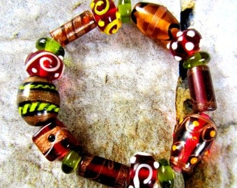 16 Orphan glass lampwork  beads assorted color size some vintage glass beads brown beads amber glass beads SB1