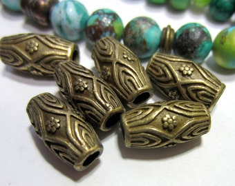 18Antique bronze beads large hole barrel beads boho chic jewerly supply 7.5mm x 14mm 3mm hole 35AB