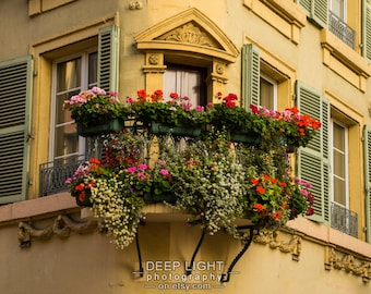 France Photography, Flower Photo Flowerbox Balcony Colmar Alsace Village Wall Art Home Decor Fine Art Print fra13
