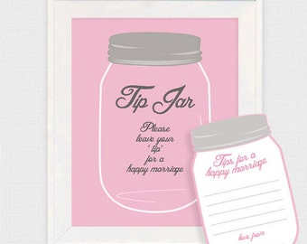 pink mason jar tip jar wedding guest book - printable file - marriage advice cards, retro, diy, wedding wishes, alternative guestbook, note