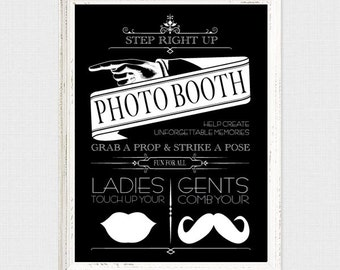 wedding photo booth sign victorian vintage style - printable file instant download - photobooth directions wedding signage carnival circus