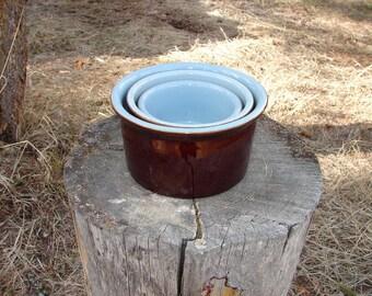 Vintage Denby Stoneware 3 Piece Set of Stacking Crock Bowls