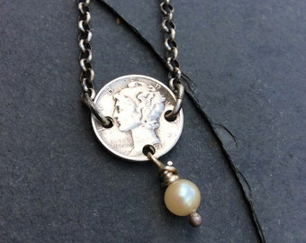 Mercury Dime with Pearl Sterling Silver Necklace