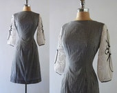 Vintage 1950s 1960s Black White Checked Cotton Embroidered Lace Sleeves Hourglass Dress XS