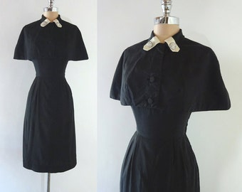 Vintage 1950s Black Cotton Bombshell Hourglass Dress and Cape Set Rhinestone Buttons  S