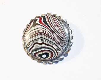 Vintage Sterling Silver Brooch Pin 925 with Original Fordite Cabochon ~ mrfeld ~ FBP10