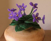 African Violet Bunch, Pink or Purple - Dee's Beaded Flowers