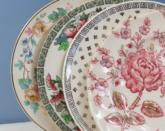 "Set of 4 Mismatched 6-1/2"" Cake, Dessert or Bread Plates, Mix & Match for Vintage Wedding or Tea Party, Fine China, Shabby Chic Floral BB62"