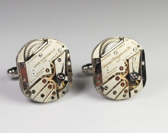 Steampunk Cufflinks Girard Perregaux - Silver Luxury Watch Movement Cuff Links - RARE Unique Style -- Great for Wedding Gift